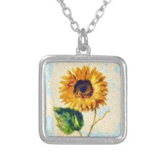Sonnenblume-Kunst Versilberte Kette