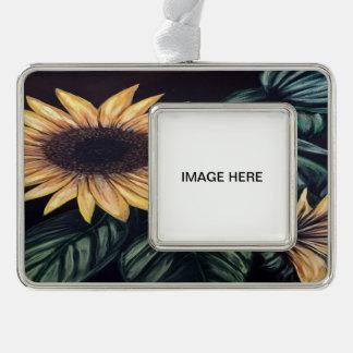 Sonnenblume-Leben Rahmen-Ornament Silber