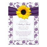 Sonnenblume-lila Damast-Brautparty-Einladung