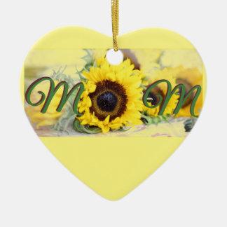 Sonnenblume-Mamma Keramik Herz-Ornament