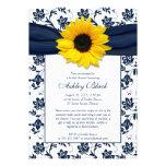 Sonnenblume-Marine-Damast-Brautparty-Einladung