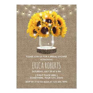 Sonnenblume-Maurer-Glas u. Schnur-Licht-Brautparty Karte