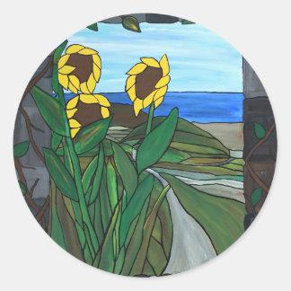Sonnenblume-Meerblick Runder Aufkleber