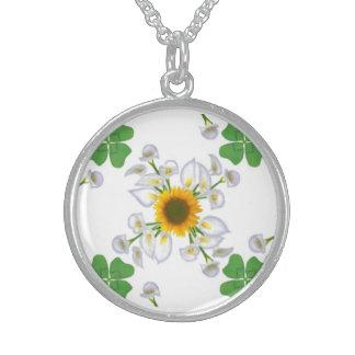 Sonnenblume mit Kalla und Glücksklee Sterling Silberkette
