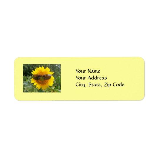 Sonnenblume mit Sonnenbrille, Adressen-Etikett Kleiner Adressaufkleber