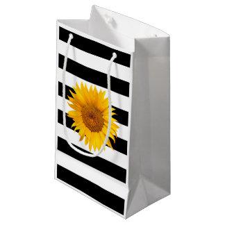 Sonnenblume-moderne schwarze u. weiße Streifen Kleine Geschenktüte