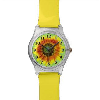 Sonnenblume-mutige gelbe und grüne mit BlumenBlume Uhr