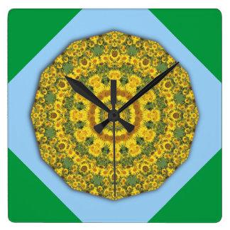 Sonnenblume-Natur, Blume-Mandala 002 02,2 Quadratische Wanduhr