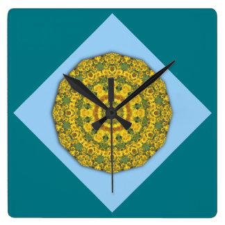 Sonnenblume-Natur, Blume-Mandala 007 07,2 Quadratische Wanduhr