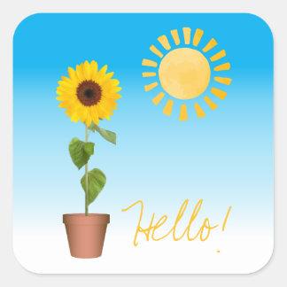 Sonnenblume-quadratischer Aufkleber