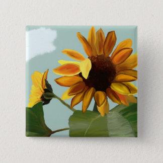 Sonnenblume Quadratischer Button 5,1 Cm