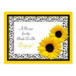 Sonnenblume-Rezept-Karte, damit die Braut ist Postkarten