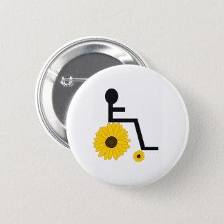 Sonnenblume-Rollstuhl-Knopf Runder Button 5,7 Cm