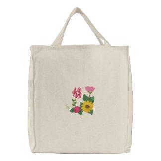 Sonnenblume-Rosen-Monogramm Bestickte Taschen