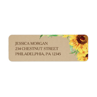 Sunflower Return Address Label Wedding