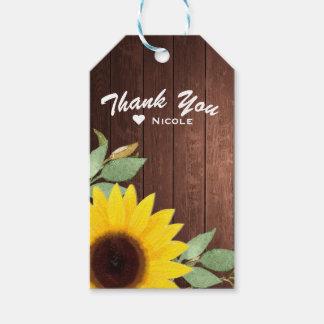 Sonnenblume-rustikale hölzerne elegante geschenkanhänger