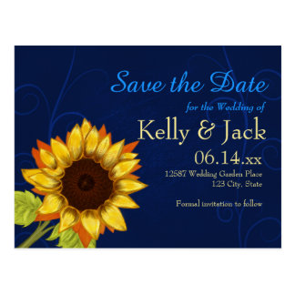 Sonnenblume/Save the Date blaue Hochzeit Postkarte