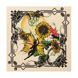 Sonnenblume-Schatten-Fee und kosmische Katze Holzleinwand