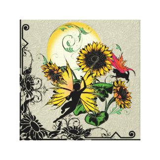 Sonnenblume-Schatten-Fee und kosmische Katze Leinwanddruck