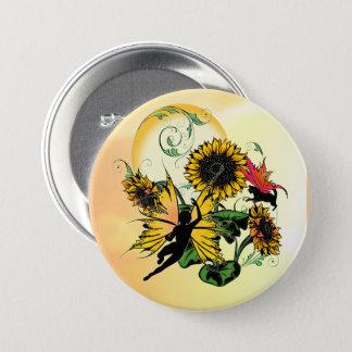 Sonnenblume-Schatten-Fee und kosmische Katze Runder Button 7,6 Cm
