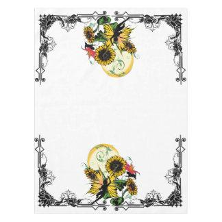 Sonnenblume-Schatten-Fee und kosmische Katze Tischdecke