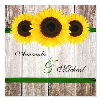 Sonnenblume-Scheunen-hölzerne grüne Band-Hochzeit Quadratische 13,3 Cm Einladungskarte