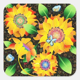 Sonnenblume-Schmetterlings-Garten Quadratischer Aufkleber