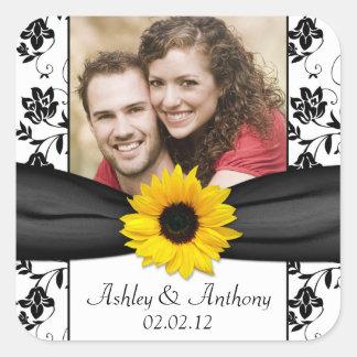 Sonnenblume-Schwarz-weiße Damast-Foto-Hochzeit Quadratischer Aufkleber