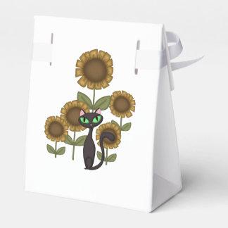 Sonnenblume-schwarze Katze Geschenkschachtel
