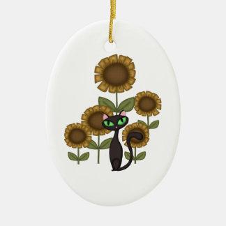 Sonnenblume-schwarze Katze Keramik Ornament