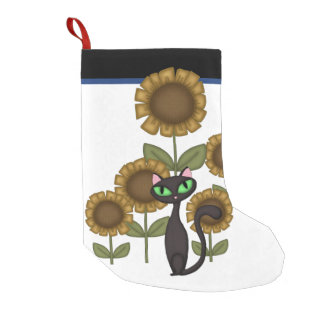 Sonnenblume-schwarze Katze Kleiner Weihnachtsstrumpf