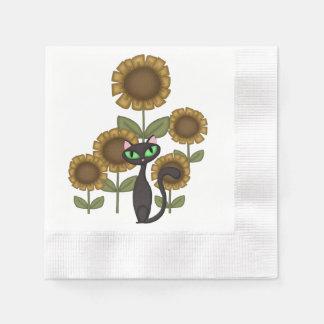 Sonnenblume-schwarze Katze Serviette