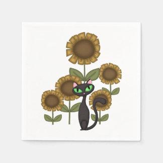 Sonnenblume-schwarze Katzen Papierserviette