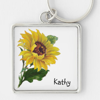 Sonnenblume Silberfarbener Quadratischer Schlüsselanhänger
