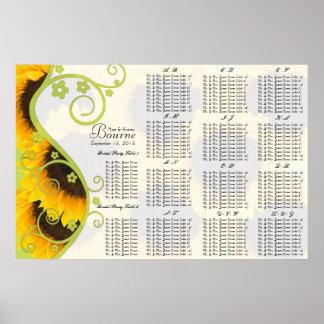 Sonnenblume-Sitzplatz-Diagramm-Tischnummern Poster