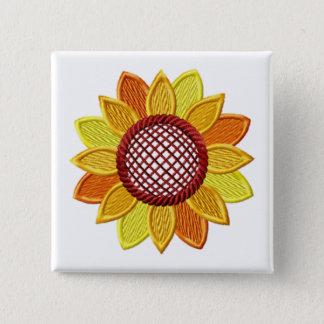 Sonnenblume-Stickerei-Ähnlicher Knopf Quadratischer Button 5,1 Cm