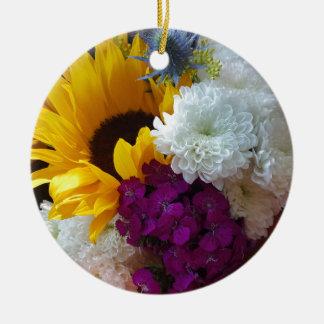 Sonnenblume-Überraschung Rundes Keramik Ornament