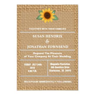 Sonnenblume-und Leinwand-Hochzeits-Einladung 12,7 X 17,8 Cm Einladungskarte