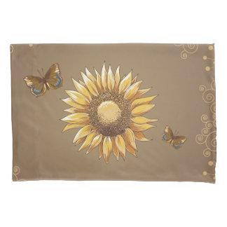 Sonnenblume-und Schmetterlings-Vintages mit Kissenbezug