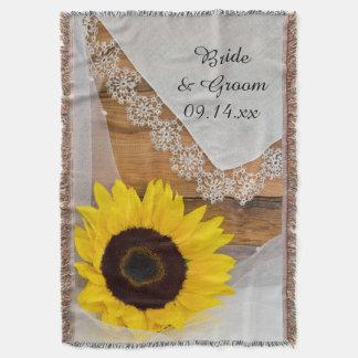 Sonnenblume und Spitze-Land-Hochzeit Decke