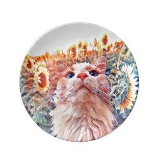 "Sonnenblume-Wachposten 8,5"" Porzellan-Platte Porzellanteller"