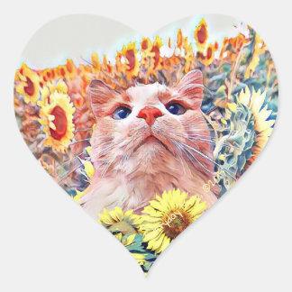 Sonnenblume-Wachposten-Herz-Förmige Aufkleber (20)