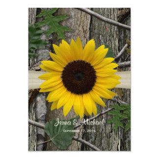Sonnenblume-WaldCamouflage-Hochzeit 12,7 X 17,8 Cm Einladungskarte