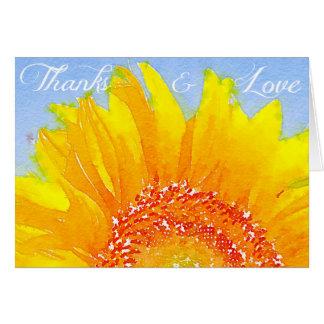 """Sonnenblumebild: """"Dank und Liebe"""". Grußkarte"""