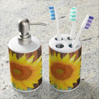 Sonnenblumeblütenbadezimmerseifen-Zufuhr-Set Badset