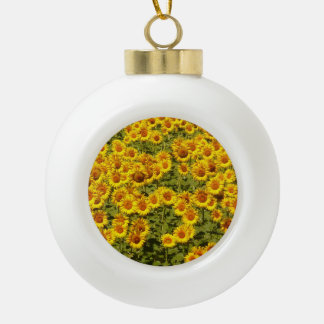 Sonnenblumefeld Keramik Kugel-Ornament