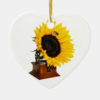 Sonnenblumegrammophon Keramik Ornament