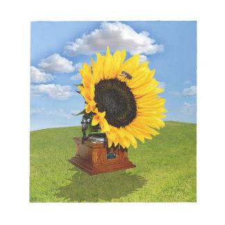 Sonnenblumegrammophon Notizblock