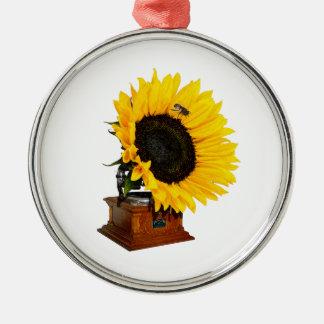 Sonnenblumegrammophon Rundes Silberfarbenes Ornament