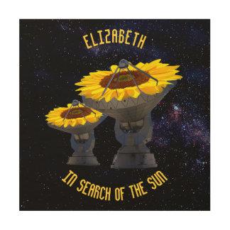 Sonnenblumen als Radioteleskop-Antenne folgen Holzwanddeko